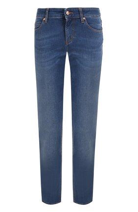 Женские джинсы-скинни с потертостями и контрастной прострочкой ESCADA SPORT синего цвета, арт. 5024980 | Фото 1