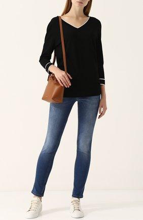 Женские джинсы-скинни с потертостями и контрастной прострочкой ESCADA SPORT синего цвета, арт. 5024980 | Фото 2