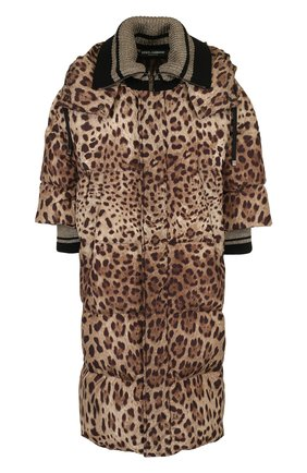 Женский удлиненный стеганый пуховик с леопардовым принтом DOLCE & GABBANA коричневого цвета, арт. 0102/F9A42T/FSM7M | Фото 1