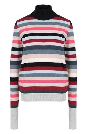 Шерстяной свитер в полоску с высоким воротником   Фото №1