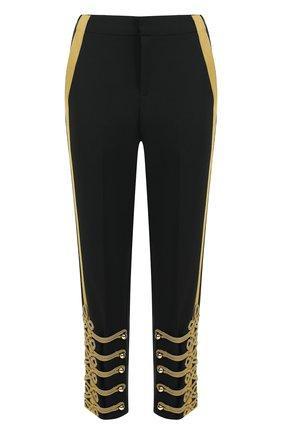 Укороченные брюки прямого кроя с контрастной отделкой | Фото №1
