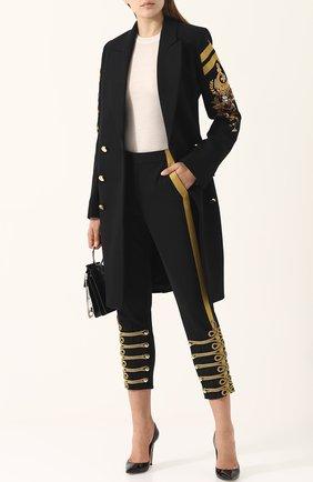 Укороченные брюки прямого кроя с контрастной отделкой A.F.Vandevorst черные | Фото №1