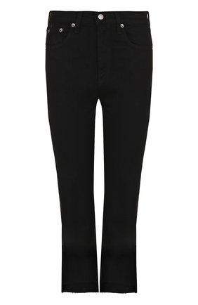 Укороченные расклешенные джинсы с потертостями Rag&Bone черные | Фото №1