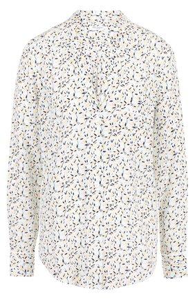 Женская шелковая блуза свободного кроя с принтом Equipment, цвет светло-голубой, арт. Q2968-E313 в ЦУМ | Фото №1