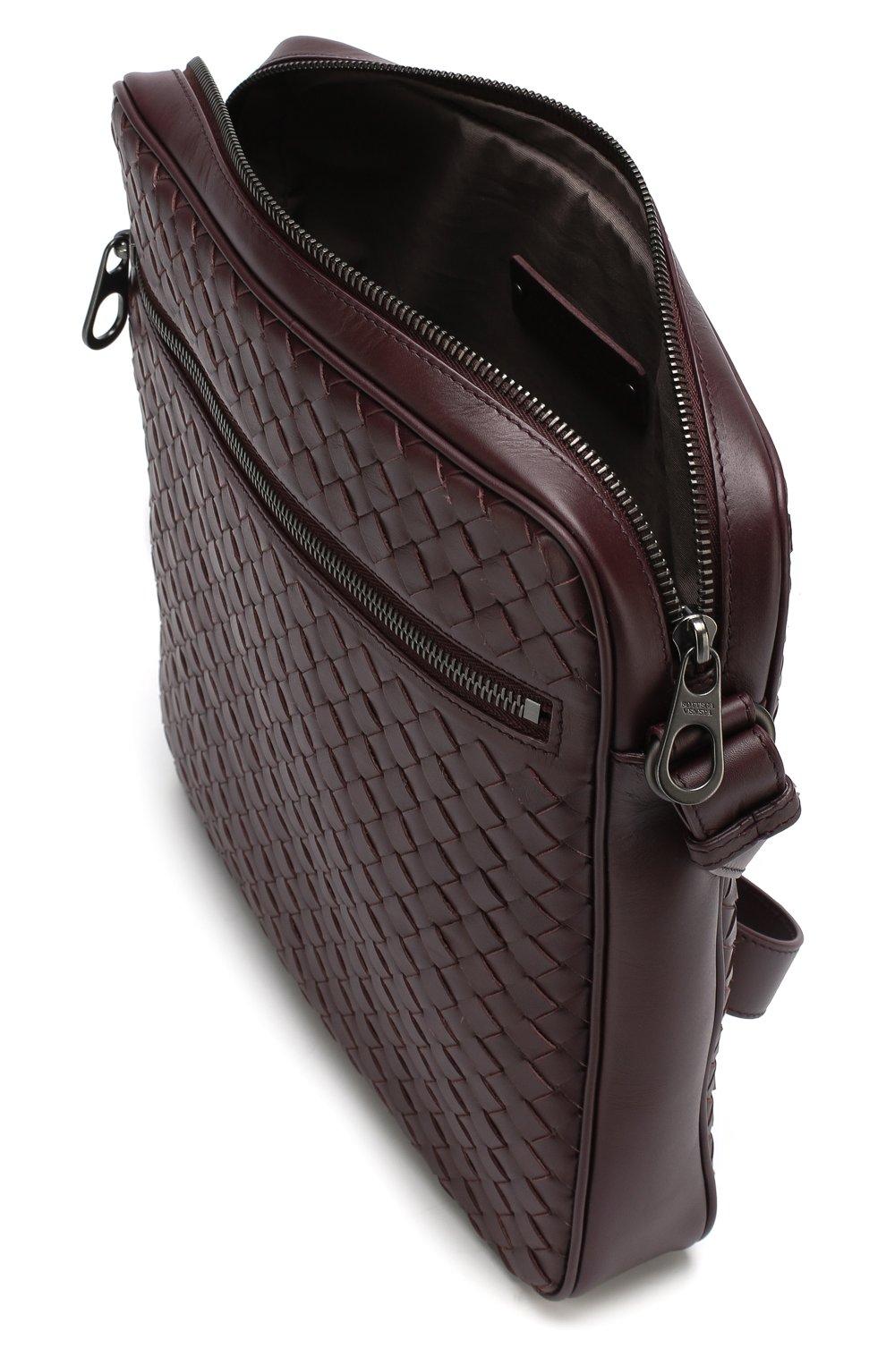 019fb6f1e05b Кожаная сумка-планшет с плетением intrecciato Bottega Veneta бордовая |  Фото №4