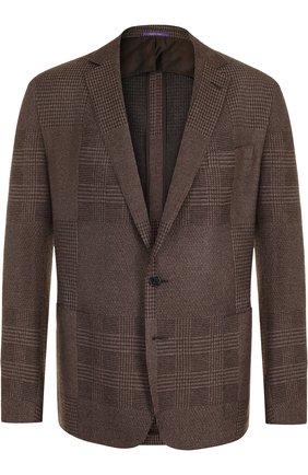 Мужской однобортный пиджак из смеси кашемира и шелка RALPH LAUREN коричневого цвета, арт. 798667894 | Фото 1