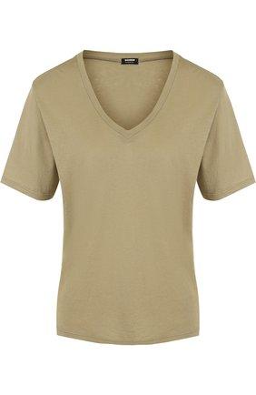 Хлопковая футболка свободного кроя с V-образным вырезом | Фото №1