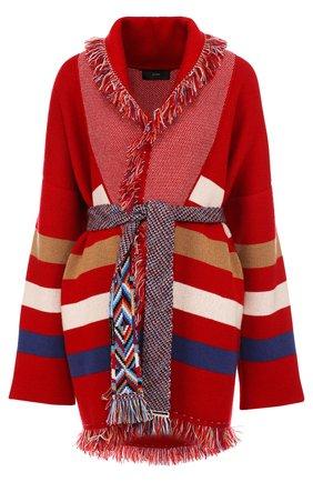 Кашемировый удлиненный кардиган с поясом и бахромой Alanui красный   Фото №1
