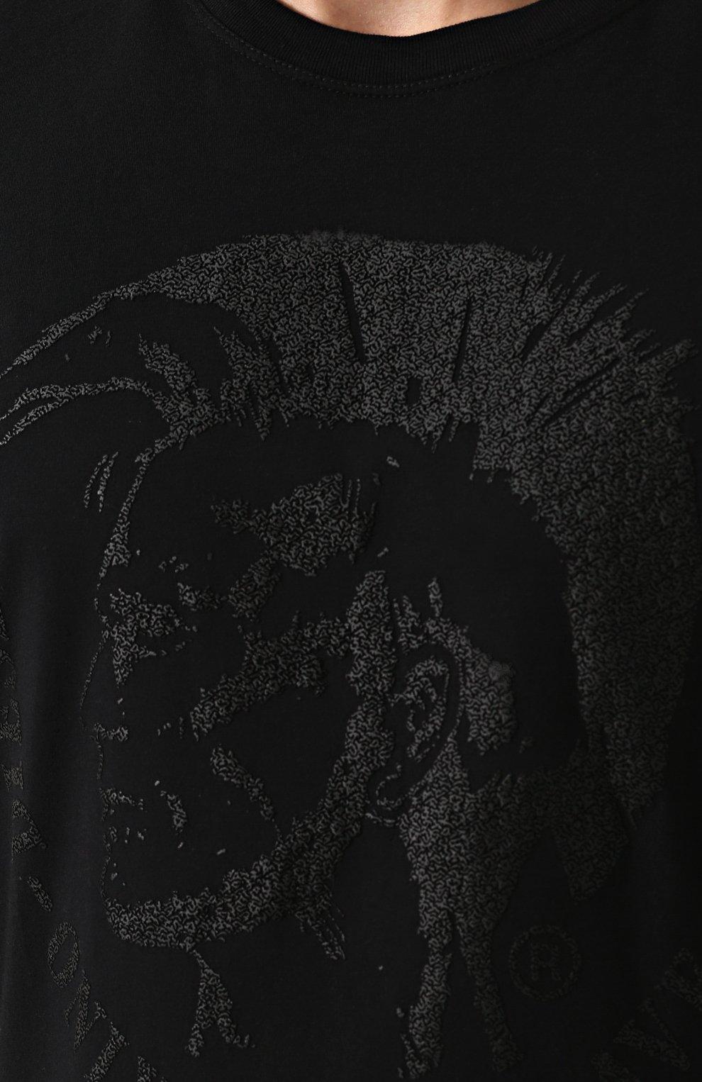 Хлопковая футболка с принтом Diesel черная   Фото №5