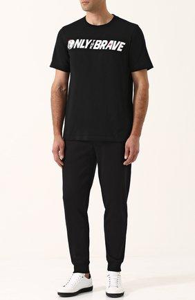 Хлопковая футболка с принтом Diesel черная | Фото №2