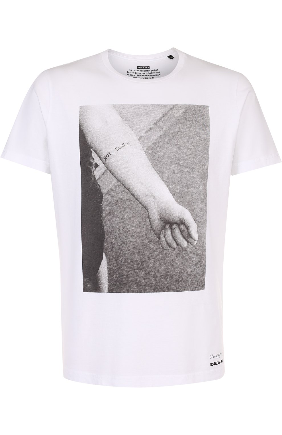 Хлопковая футболка с принтом   Фото №1