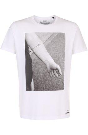 Хлопковая футболка с принтом Diesel белая   Фото №1