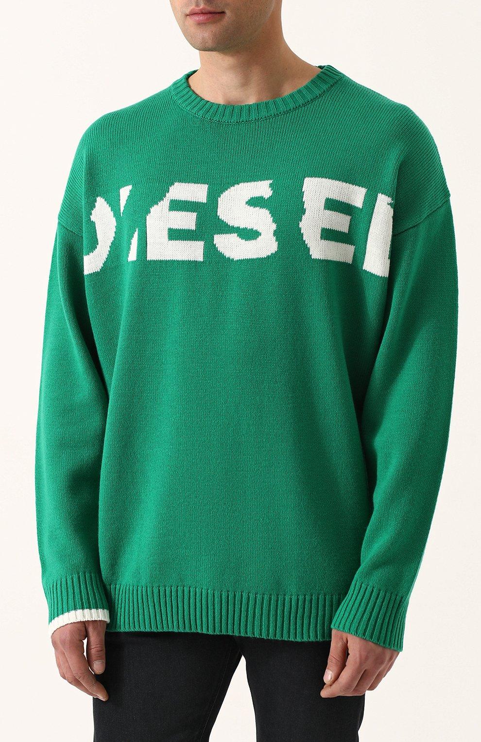 Шерстяной джемпер свободного кроя Diesel зеленый | Фото №3