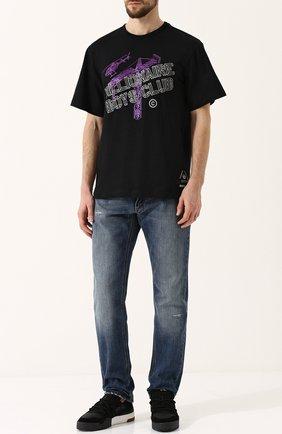 Хлопковая футболка с принтом на спине Billionaire Boys Club черная | Фото №1