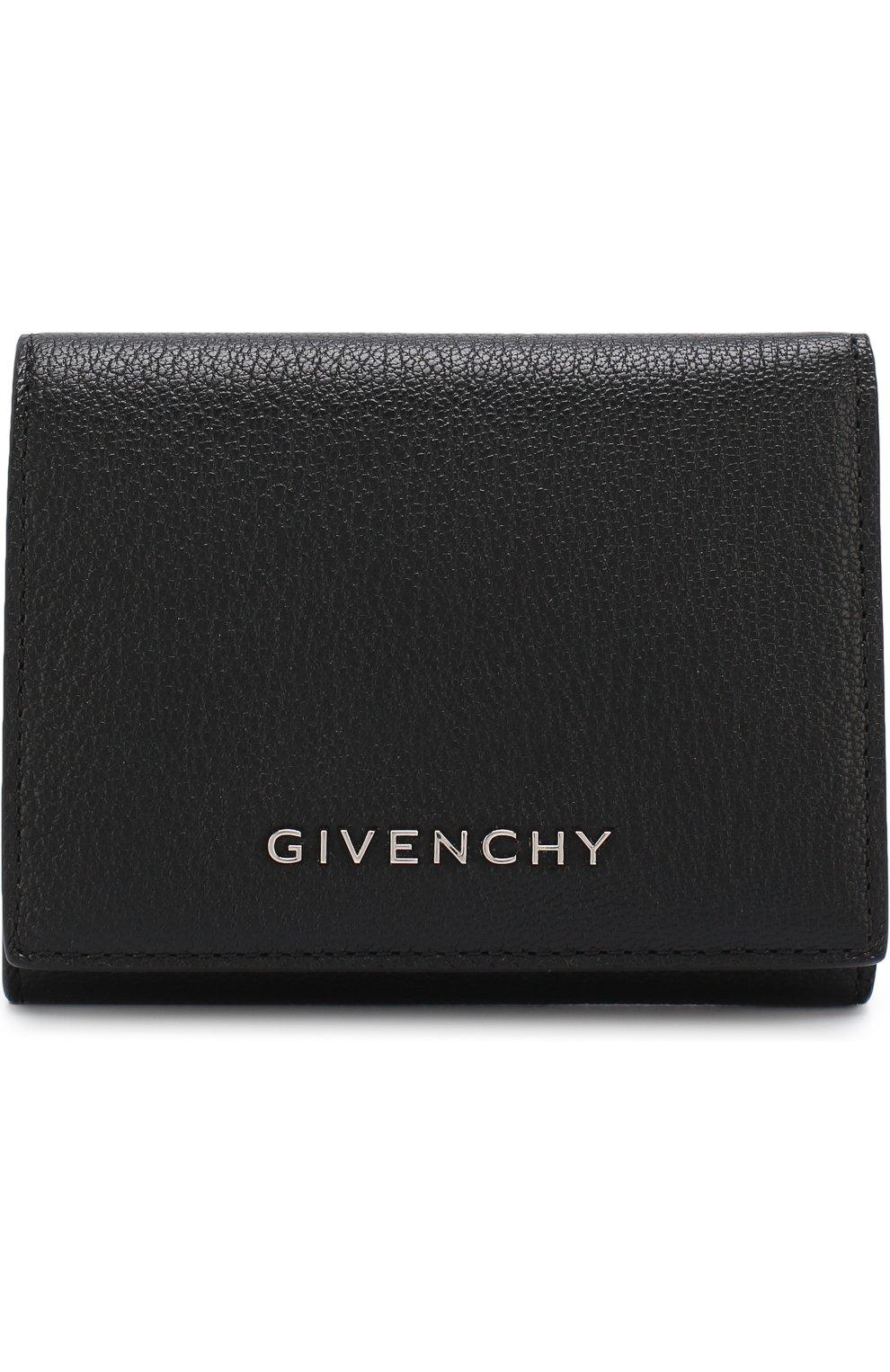 Кожаный кошелек с логотипом бренда Givenchy черного цвета | Фото №1