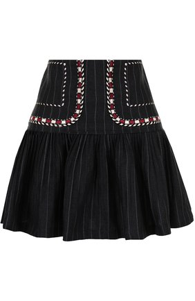 Льняная мини-юбка с контрастной отделкой | Фото №1