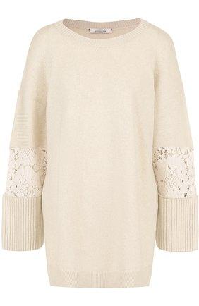 Шерстяной пуловер свободного кроя с кружевными вставками   Фото №1