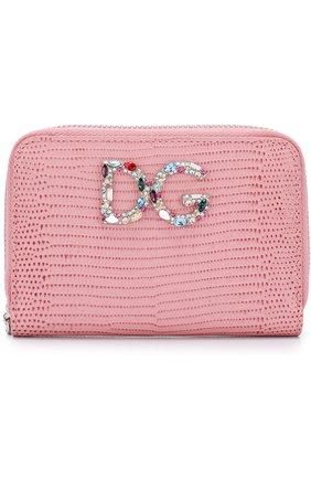 Женские кожаный кошелек на молнии с логотипом бренда DOLCE & GABBANA розового цвета, арт. BI0920/AH330 | Фото 1
