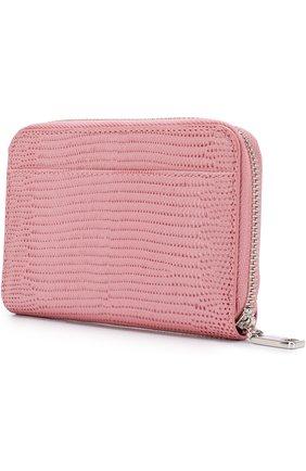 Женские кожаный кошелек на молнии с логотипом бренда DOLCE & GABBANA розового цвета, арт. BI0920/AH330 | Фото 2