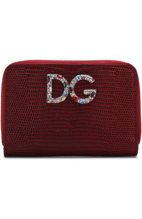 Кожаный кошелек на молнии с логотипом бренда | Фото №1