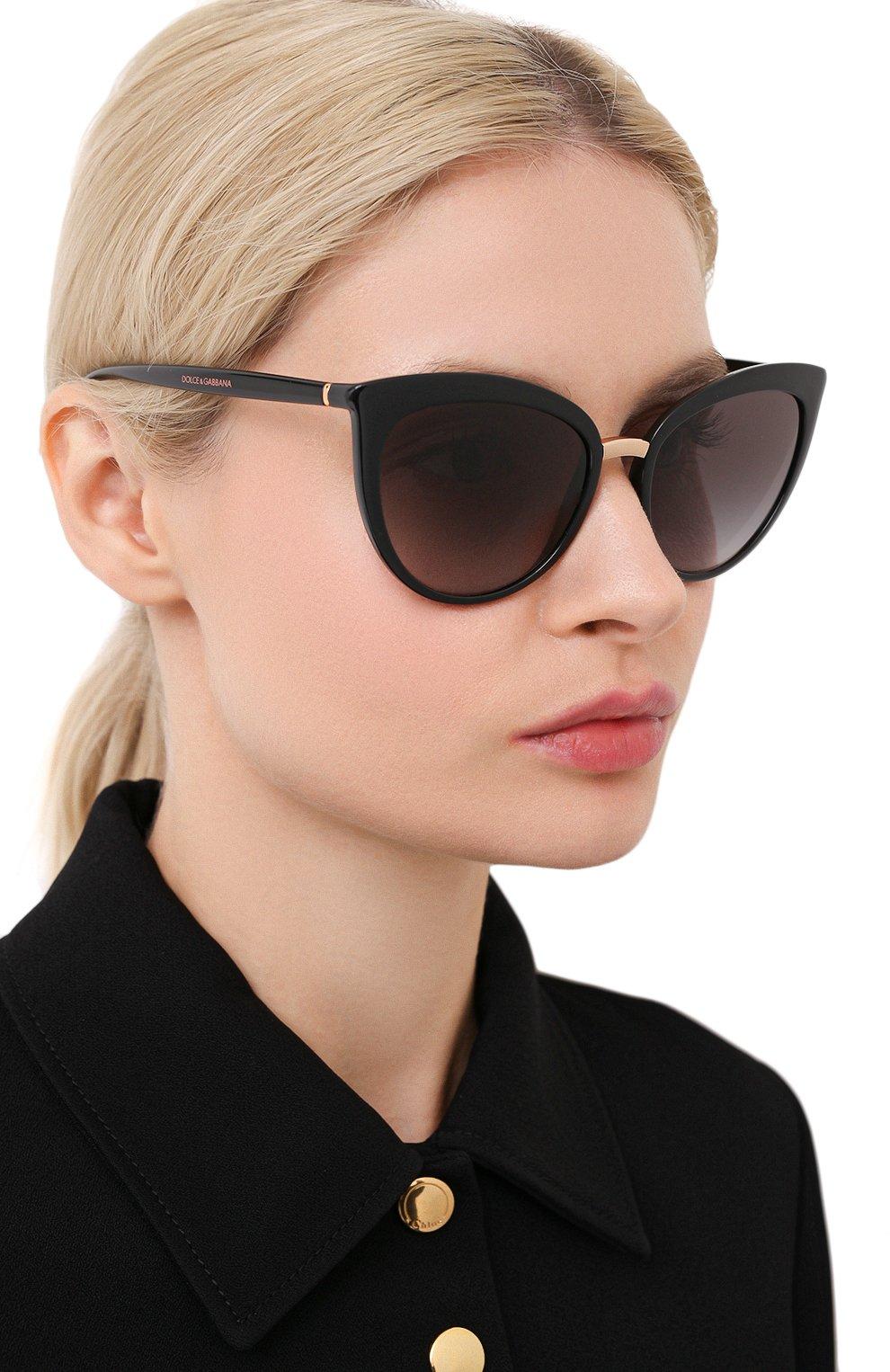 Женские солнцезащитные очки DOLCE & GABBANA черного цвета, арт. 6113-501/8G   Фото 2