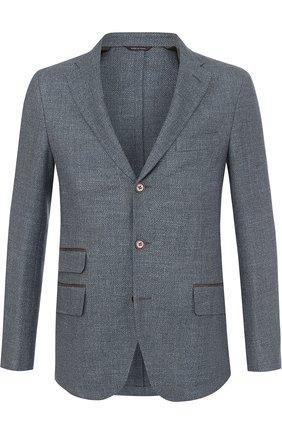 Мужской однобортный пиджак из смеси шерсти и льна с шелком LORO PIANA голубого цвета, арт. FAG3469 | Фото 1