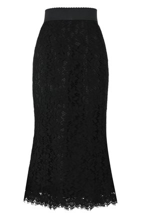 Однотонная кружевная юбка-миди | Фото №1