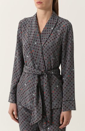 Шелковая пижама с контрастным принтом Equipment серая | Фото №1
