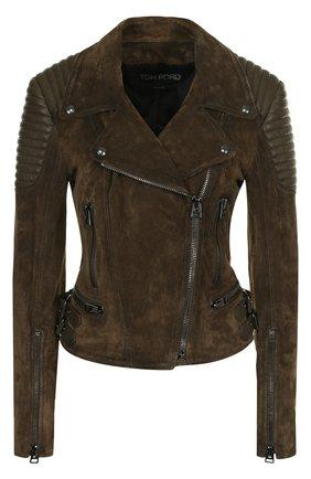 Приталенная замшевая куртка с косой молнией | Фото №1