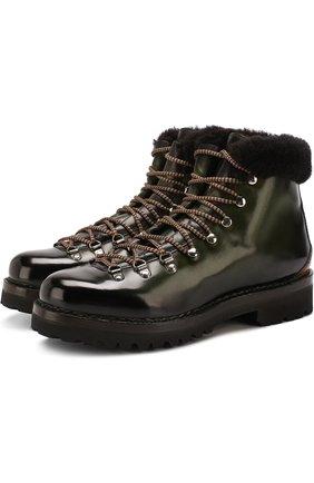 Мужские кожаные ботинки на шнуровке с меховой отделкой RALPH LAUREN оливкового цвета, арт. 815696522 | Фото 1