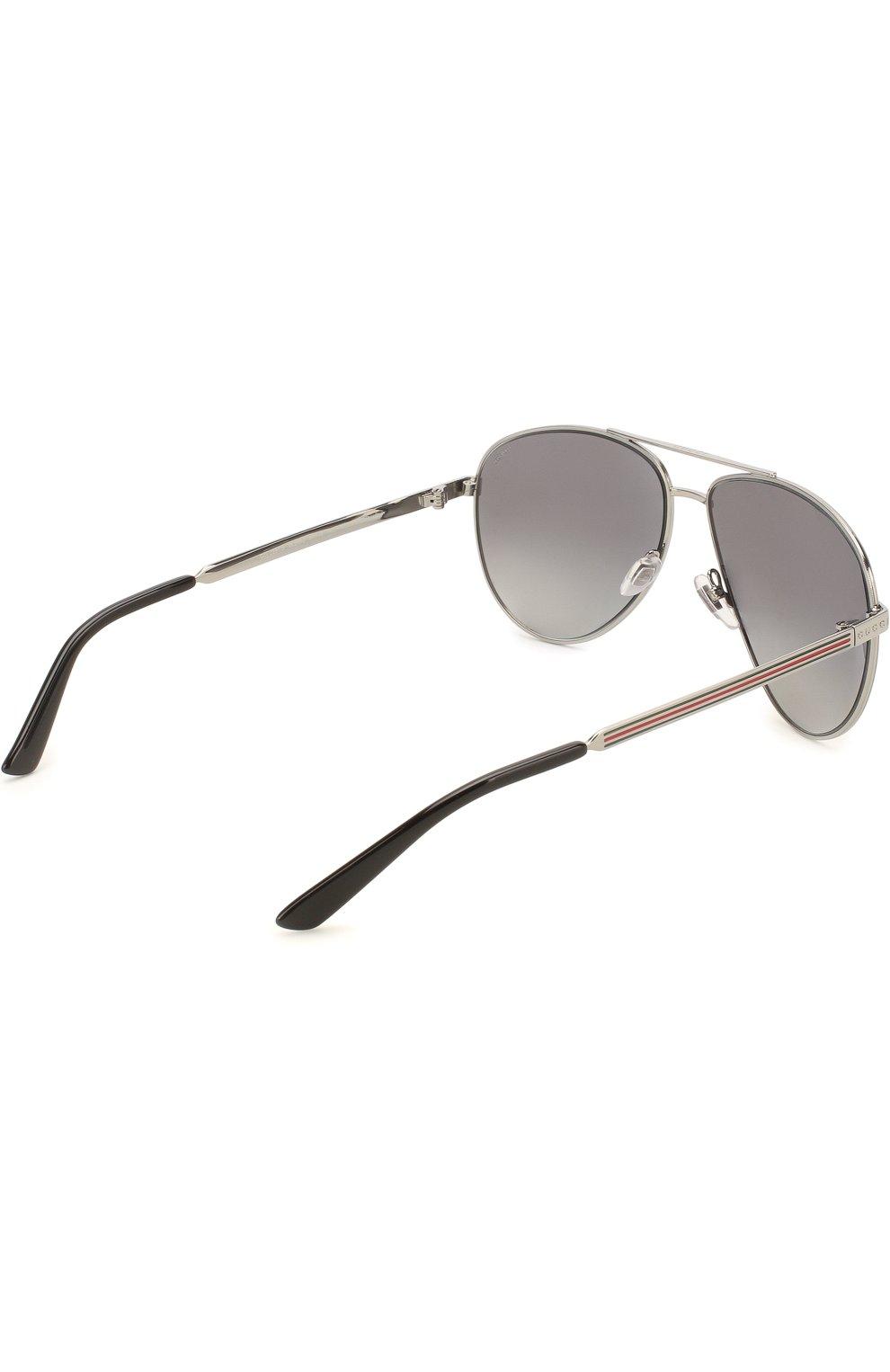 Женские солнцезащитные очки GUCCI серебряного цвета, арт. 2281 6LB   Фото 3