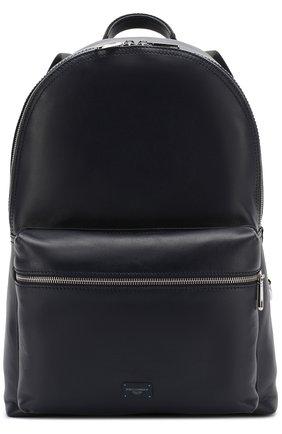 Кожаный рюкзак Vulcano с внешним карманом на молнии Dolce & Gabbana темно-синий | Фото №1