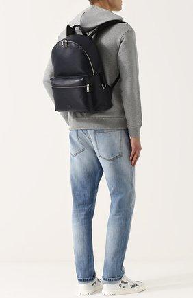 Кожаный рюкзак Vulcano с внешним карманом на молнии Dolce & Gabbana темно-синий | Фото №2
