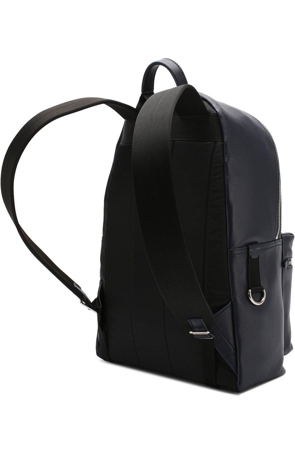 Кожаный рюкзак Vulcano с внешним карманом на молнии Dolce & Gabbana темно-синий | Фото №3