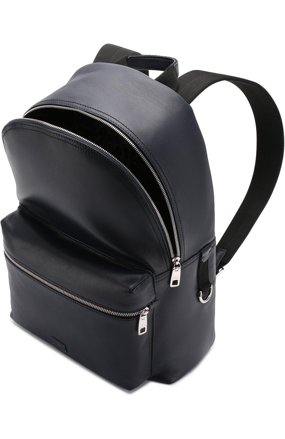 Кожаный рюкзак Vulcano с внешним карманом на молнии Dolce & Gabbana темно-синий | Фото №4