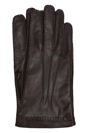 Кожаные перчатки с подкладкой из смеси кашемира и шелка | Фото №1
