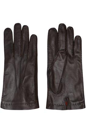 Кожаные перчатки с подкладкой из смеси кашемира и шелка | Фото №2