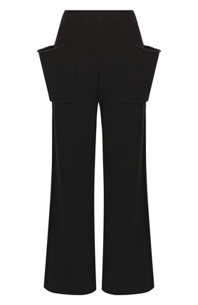 Хлопковые расклешенные брюки с накладными карманами Yohji Yamamoto черные   Фото №1