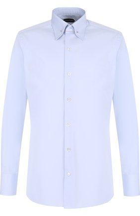 Мужская хлопковая сорочка с воротником на булавке TOM FORD голубого цвета, арт. 2FT012/94S3JA | Фото 1