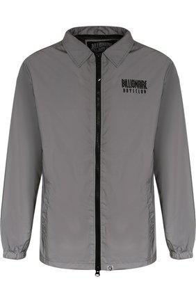 Куртка на молнии с логотипом бренда Billionaire Boys Club серебряная | Фото №1