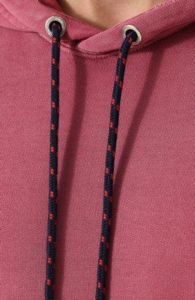 Хлопковое худи с потертостями Diesel розовый   Фото №5
