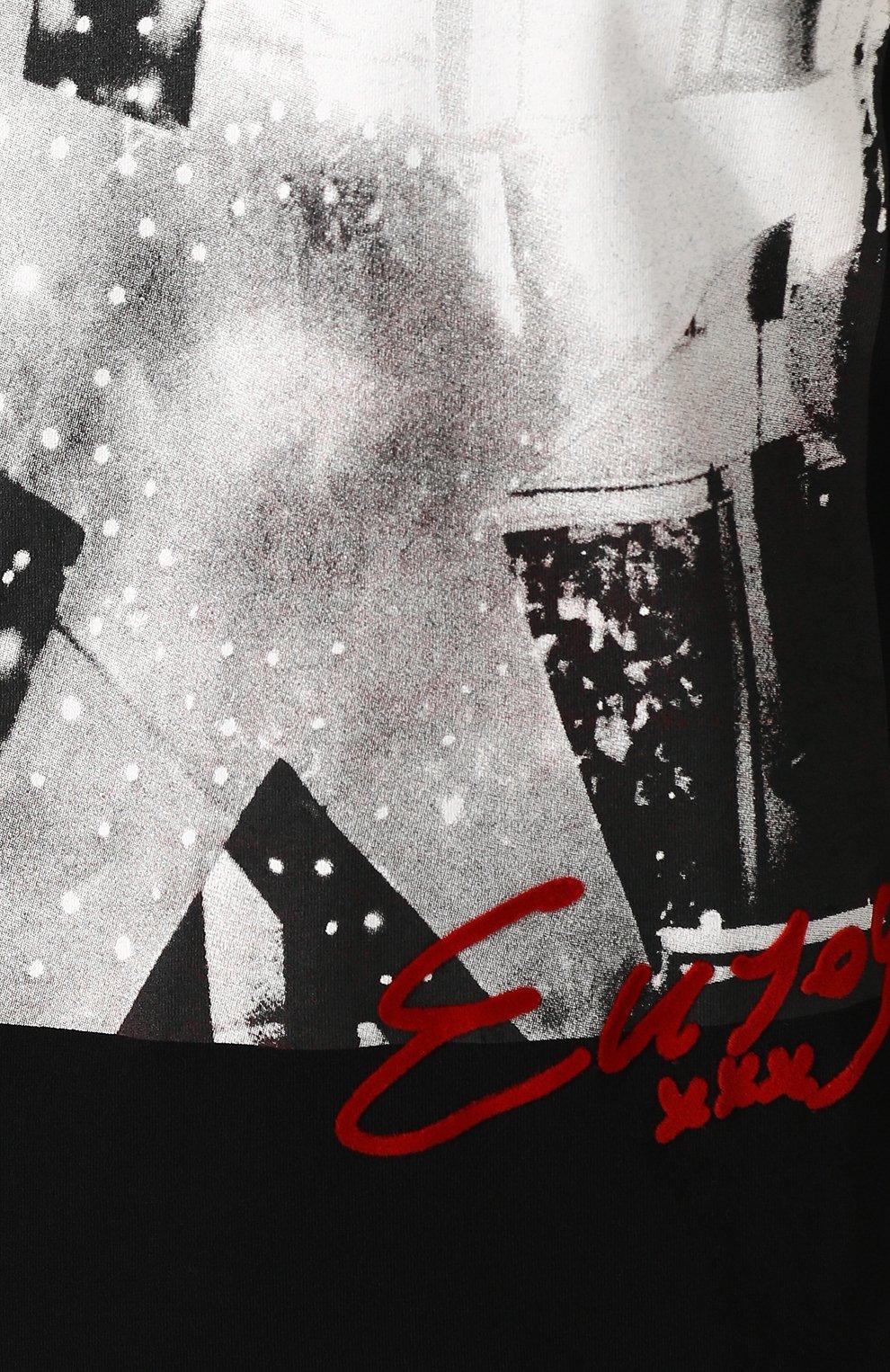 Хлопковый лонгслив с принтом Diesel черная | Фото №5