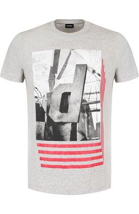 Хлопковая футболка с принтом Diesel серая | Фото №1