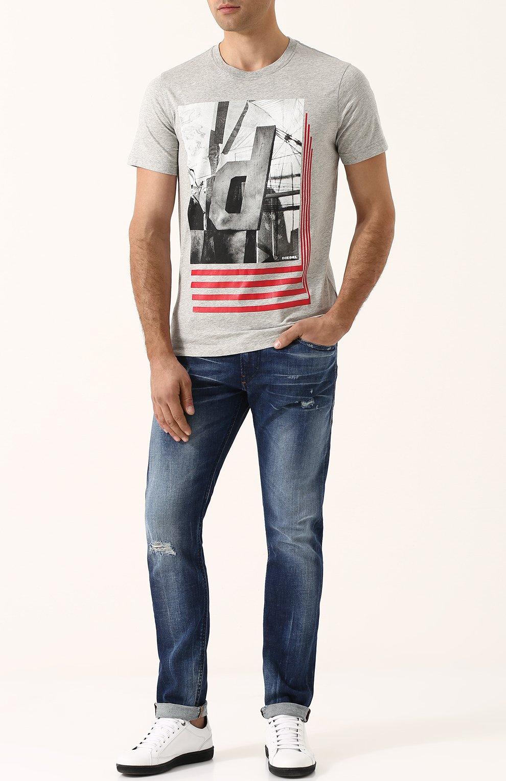 Хлопковая футболка с принтом Diesel серая | Фото №2