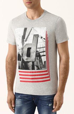 Хлопковая футболка с принтом Diesel серая | Фото №3