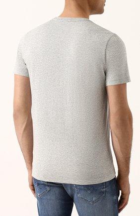 Хлопковая футболка с принтом Diesel серая | Фото №4