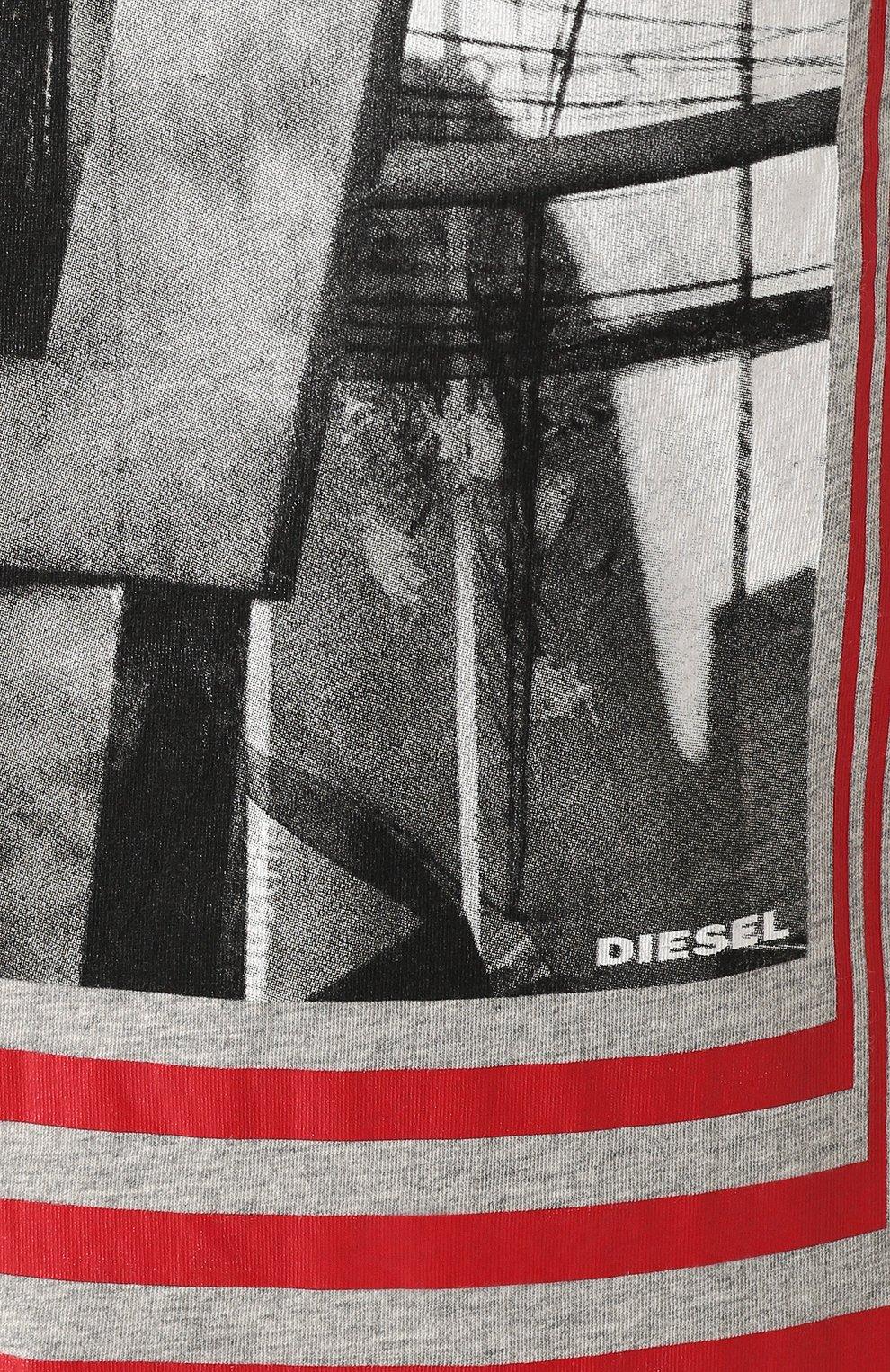 Хлопковая футболка с принтом Diesel серая | Фото №5