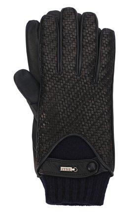 Кожаные перчатки с кашемировой подкладкой и манжетами | Фото №1