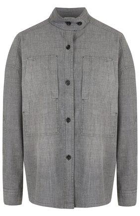 Джинсовая блуза свободного кроя с воротником-стойкой | Фото №1