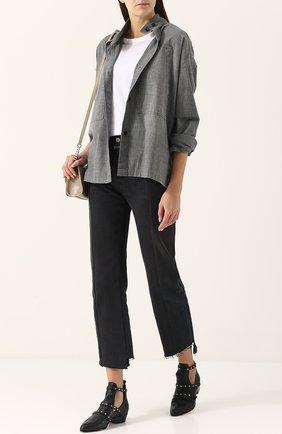 Джинсовая блуза свободного кроя с воротником-стойкой   Фото №2
